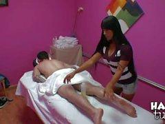 Oriental Gaia gives bonus Handjob after massage