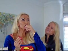 Super Girl vs Catwoman kinky latex horny busty babes fuck with big strapon