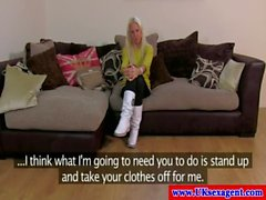 Blonde casting amateur fingers her pussy