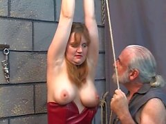 Mature mama in corset breast bound til her tits go blue