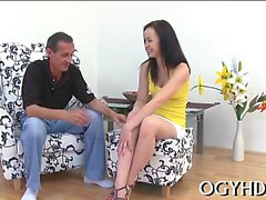 Horny young angel likes hardcore insertion of old hard rod