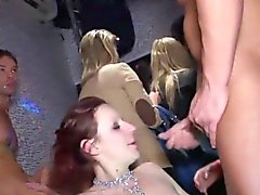 Party girls sucking stripper cock