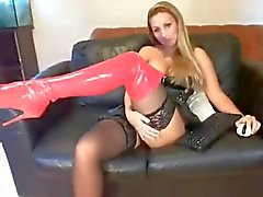 ThighHigh Boots Red PVC