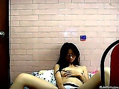 Nerdy Asian Teen Teasing In College Dorm Room