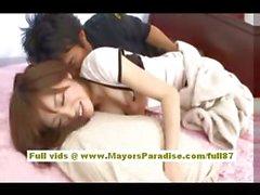 Rika Sugisaki naughty asian babe having fun on the bed
