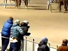 WTF Norweigan Couple gay a attrapé avoir le sexe à une course de chevaux!