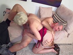 Blonde granny Dalny Marga sucking dick