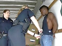 Two White Female Cops Sucking Great Big Black Dudes Dong