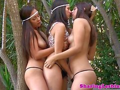 Shyla Jennings licking lesbian pussy in trio