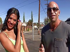 Horny Latina Emy Reyes blows him
