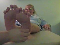 Officer foot tickled