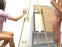 Painting and having fun with his dick