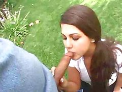 Carmella starts eating outside before fucking this hard cock