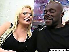 Blonde flirting with black monstercock
