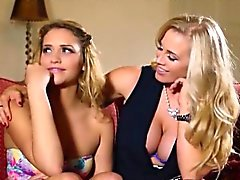 MILF Rebecca teaches Mia how to give bj