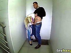 Skinny Blonde Fucked in Public Stairwell