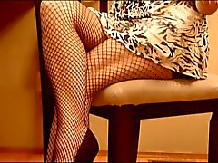 high heels and fishnets