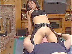 Stunning anal asian in lingerie gets her tight asshole drilled by big cock