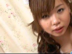 Japan maid, Aoi Mizumori, pleases her master