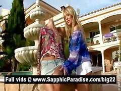 Superb blonde lesbos licking and having lesbo love outdoor