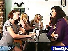 Cfnm hotties humilate waiter