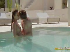 Brunette girl gets sex in the pool