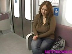 Busty asian blowjob in subway