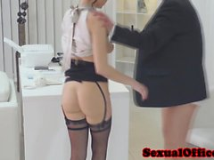 Gorgeous secretary facialized by boss after officesex