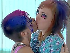 Horny lesbian getting finger and strapon fucked in the ass