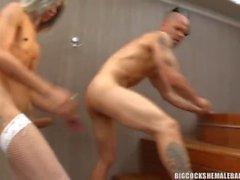 shemale fucks guy bareback creampy anal