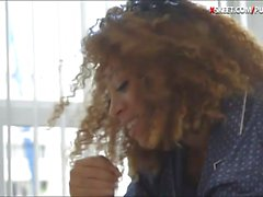 Curly hair teen pounded while tied up and handcuffed