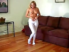 Blonde in leotard and pantyhose