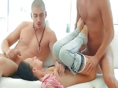 Unique italian gangbang with hot babe