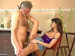Skinny cutie Betty Stylle gives it to dirty grandpa