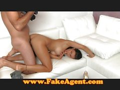 FakeAgent Horny tanned amateur loves taking cock