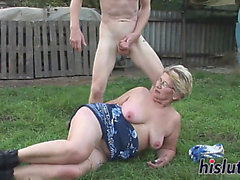Slutty Aged Pair Enjoys Banging Outdoors