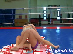 European beauty fingered after wrestling