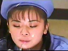 Amatör asiatiska flickvän slog och ansikts cumshot