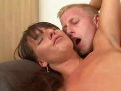 Brunette with a hairy muff gets hard fuck from behind