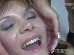 Premium Bukkake - Michelle swallows 83 big mouthful loads