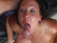 Alluring Julie Knight gets plastered with cock juice