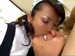 2 Maids Giving Handjob Sucking Cock Spitting Cum On The Bed