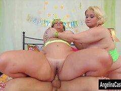 Angelina Castro BBW aniversário 3Way Treat!