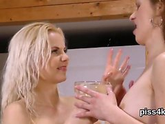 Sweet teenie is geeting pissed on and ejaculates wet snatch
