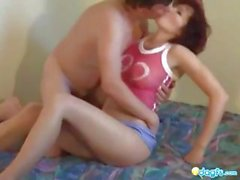 Mature amateur redhead gets licked and banged by the neighbor
