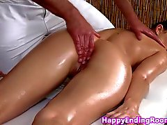 Classy massage beauty fingered before blowjob