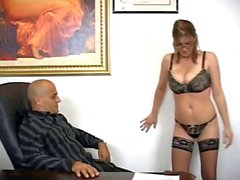 Secretary gives awesome handjob