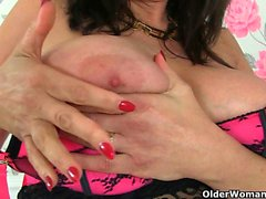British and big titted milfs Lulu and Red love dildoing