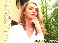 Glam clothed lez toying