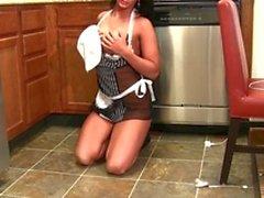 Hot brunette maid masturbation
